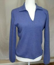 Women's Small 2 Ply Cashmere Sweater Purple V neck Collar Long Sleeve Soft
