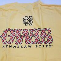 Kennesaw State Owls Unisex T-Shirt XL College New Short Sleeve Crewneck Yellow d