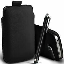 PU Leather Pull Tab Pouch Case & Large Pen for Blackberry Q20 Classic