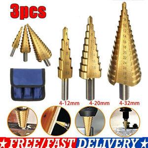 HSS Steel Step Cone Drill Titanium Bit Set Hole Cutter Fast 4-12/20/32mm DIY UK
