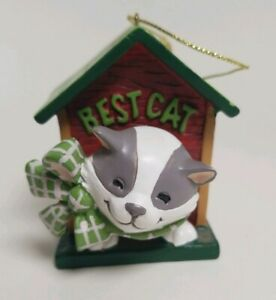 The Best Cat White Gray House Bobble Head Bow Christmas Ornament 2010 AGC