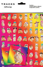 Hamsters in Hats Quirky Novelty Gift Wrap Wrapping Paper Birthday 2 Sheets Tags