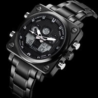 Men Watches Fashion Digital Analog Luminous Stainless Steel Black&White Dial