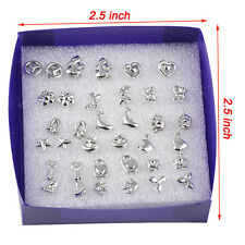 New Wholesale 18 Pairs Jewelry Mix Styles Silver Plated Sterling Stud Earrings