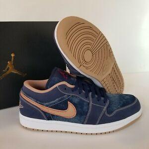 Nike Air Jordan 1 Low SE AJ1 Denim Blue Gold Men sneakers DH1259-400 Size 9.5