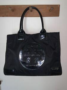Tory Burch TOTE Bag ELLA Purae Black Nylon & Patent Large LOGO