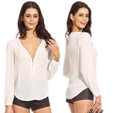 Seyx Women's V-NECK Loose Long Sleeve Chiffon Casual T Shirt Tops Blouse