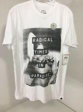 QUICKSILVER MEN'S RADICAL TIMES IN PARADISE SHORT SLEEVE T SHIRT WHITE SMALL NWT