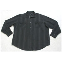 Anchor Blue Black Long Sleeve Dress Shirt Button Up XXL Man's 2XL Top CottonPoly