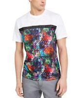 INC Mens T-Shirt White Small S Graphic Tee Graffitti Printed Studded $29- 203