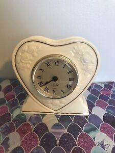 Lennox Quartz Heart Shape Mantel Desk Clock Ceramic /24K Gold Plated - Preowned