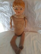 """Antique A.M.Doll Co.- Composition Doll w/ Stuffed Straw Body 25"""" Long"""