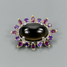 Handmade30ct+ Natural Smoky Quartz 925 Sterling Silver Brooch /NB06304