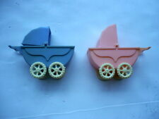 "2 1940S WANNATOY BABY CARRIAGES PINK & BLUE, 4 1/2"" LONG, NICE CONDITION"
