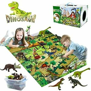 YUNKE Dinosaur Toy Set, Dinosaur Figure with Play Mat & Trees, Realistic