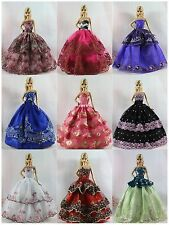 Lot 15 items= 5 Princes Dress/Wedding Clothes/Gown+10 shoes For Barbie Doll S190