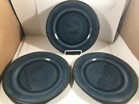 Set of 3 Better Homes and Gardens Blue Glazed Stoneware Side Plates