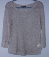 James Perse Women's Scoop Neck Long Sleeve Sweater Top Gray Cashmere Size 3