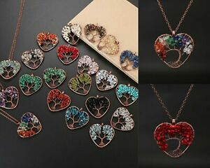 Natural Stone Heart 7 Chakra Tree of Life Pendant Necklace Jewelry Accessory New