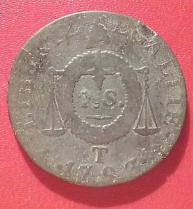 COIN / PIECE FRANCE LOUIS XVI - 1 SOL AUX BALANCES - 1793 T : NANTES