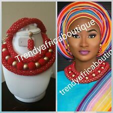Red beaded coral-necklace set for Nigerian/African traditional wedding. 3pcs.Cor