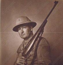 "Hendrickson Original Photo Sepia HENDRICKSON HOLDING A HUNTING RIFLE 8 x 8.5"""