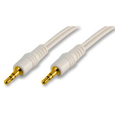 3.5mm Mini Jack Stereo Aux Gold-Plated Male Plug White Audio Lead Cable - 1.2m