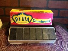 Vintage Elgee Reina Dominoes Double Six Set - Wood - Brazil - Circa 1950s