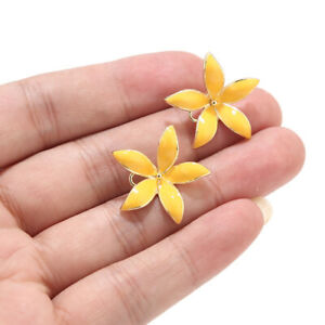 Newest 10pcs Gold Plated Brass Yellow Flowers Pendent DIY Jewelry Accessories