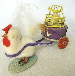 Easter Toy Candy Container Cotton Paper Mache Chicken pulIing chick Holiday Toy