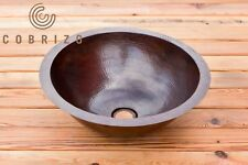 "El Redondo by Cobrizo 16"" Round Handmade Hammered Copper Bathroom Sink"