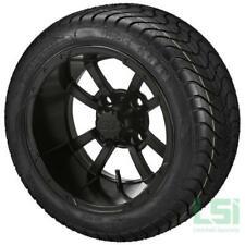 4 Golf Cart 215/40-12 Tire on a 12x7 Matte Black  Maltese Cross Wheel