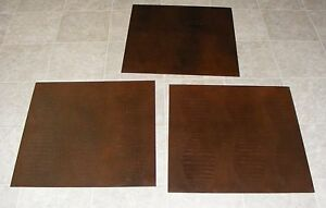 (TSAC7067) 3 Damaged Robus Red Brown Gator Print Synthetic Leather Floor Tile
