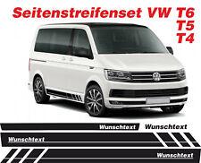 VW T4 T5 T6 WUNSCHTEXT / LOGO Seiten Streifen Aufkleber Set DekorSticker Bus 002