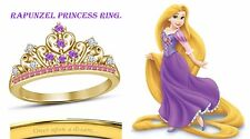 Round Cut Multi-Stone 14K Yellow Gold Plated Rapunzel Disney Princess Ring