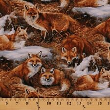 "Foxcroft Fox Animal Brush by Wild Wings 100% cotton 44"" fabric by the yard"