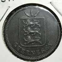 1893-H GUERNSEY 4 DOUBLES NICE COIN