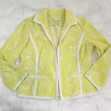 Chico's Cotton Blazer Size 1 (Medium) Bright Floral Summer Career
