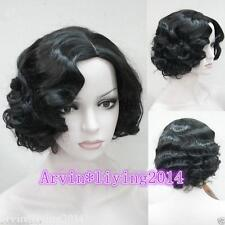 black,blonde,brown ,Ladies Vintage Short Curly Wavy  Natural Hair Wigs +wig cap