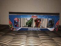Marvel Avengers Glassware Collecters Set of 4 Shot Glasses 1.5 ounces Each - NIB