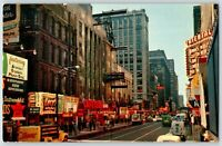 Chicago IL Postcard Randolph Street Lucy's Bensinger Bowling Oriental Theater