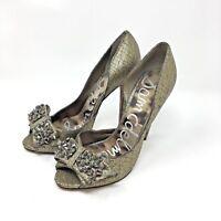 Sam Edelman Womens Lorna Gold High Heels Studded Bow Shoes Size 7.5 Pump Peeptoe