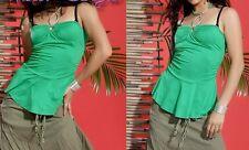 SeXy Miss Damen Glamour Babydoll Top Strass Brosche Neckholder grün 34/36/38 NEU