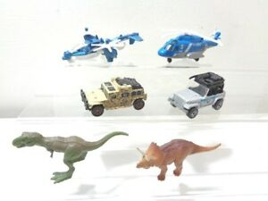 Jurassic World Set of 4 Diecast Vehicles + 2 dinosaurs Matchbox and Mattel