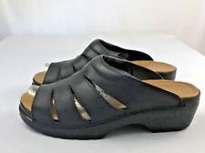 Ecco Sandals Size US 10 EU 41 Black Leather Open Toe Block Heel Open Back Slides