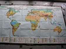 Schulwandkarte Weltkarte Landschaftsgürtel 270x170cm vintage world map card 1972