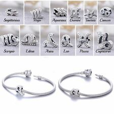 925 Sterling Silver Zodiac Charm Beads Designed with Swarovski Stones