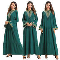 Ramadan Embroidery Abaya Muslim Women Long Dress Kaftan Dubai Robe Jilbab Islam