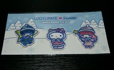 """NEW Hello Kitty Sanrio Loot Crate """"Let It Snow"""" Winter Embroidered Patch Pin Set"""
