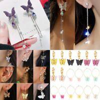 Fashion Long Tassel Crystal Pearl Earrings Women Butterfly Drop Dangle Ear Stud